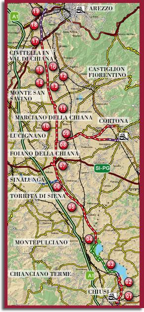 Valiano, sentiero della Bonifica, mappa generale